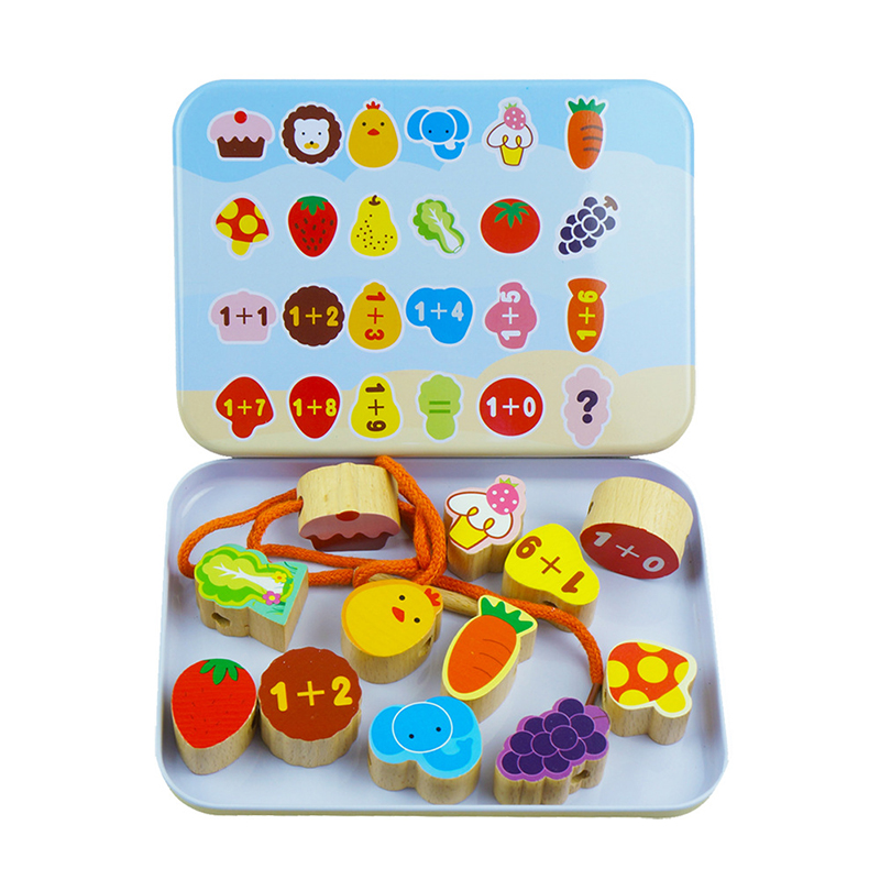 Baby Wooden Beads Toys Set Box DIY Cartoon Beading Toy Kids Stringing Threading Beads Game Montessori Toys Early Education