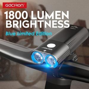 Image 1 - Gaciron 1800 루멘 자전거 라이트 프론트 라이트 Led USB 충전식 배터리 핸들 바 자전거 헤드 라이트 프론트 램프 액세서리 세트