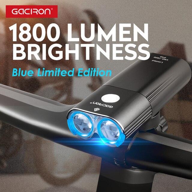 Gaciron 1800 루멘 자전거 라이트 프론트 라이트 Led USB 충전식 배터리 핸들 바 자전거 헤드 라이트 프론트 램프 액세서리 세트