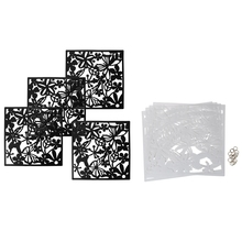 8 Pcs Fashion Butterfly Bird Flower Hanging Screen Partition Divider Panel Room Curtain Home Decor, 4 Pcs Black & 4 Pcs White