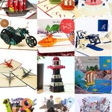 Поздравительные открытки с 3D выдвижным рисунком на день рождения, лазерная вырезка для мальчиков и девочек, Подарочная открытка, открытки с...