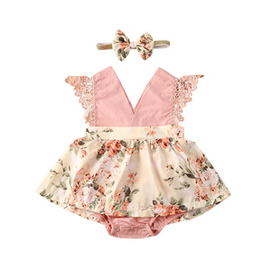 Focusnorm 0-24M Newborn Infant Baby Girls Romper Dress Print Floral Off Shoulder Lace Pink Princess Jumpsuits Headband 2Pcs(China)