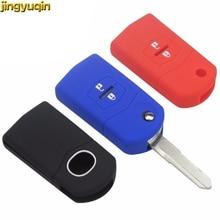 Jingyuqin Silicone Rubber 2 Buttons Remote Car Key Case Fob For Mazda CX 5 CX5 CX 7 CX7 3 2 6 Atenza CX 9/CX9 MX5 Key Case Cover