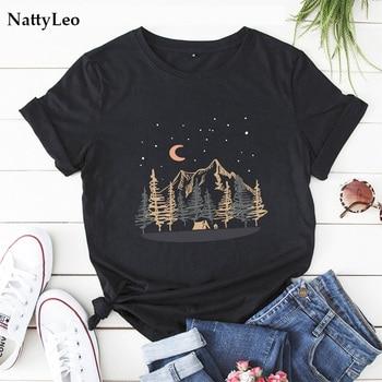 Plus Size T Shirt New Moon Print T-Shirt 100%Cotton Women Shirts O Neck Short Sleeve Tees Summer TShirt Women Harajuku Tops недорого