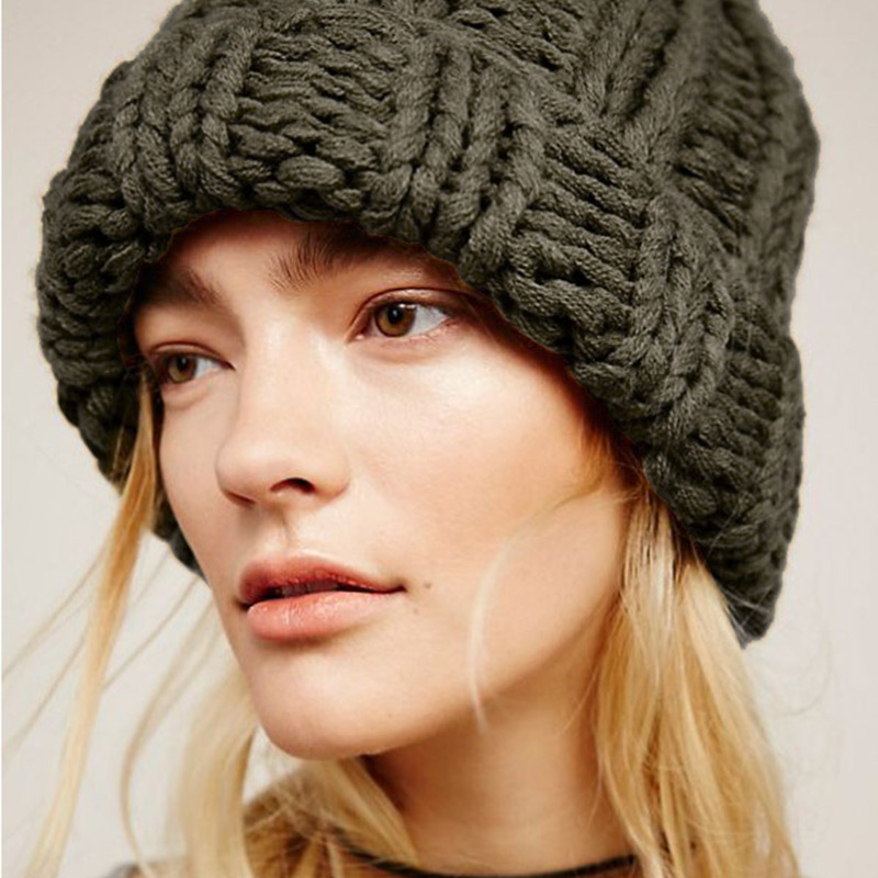 Women Hand Made Knitting Hat High Quality Customizable Logo Winter Warmer Ear Thick Soft Beanie Lady Chunky Knitted Rib Hats 94