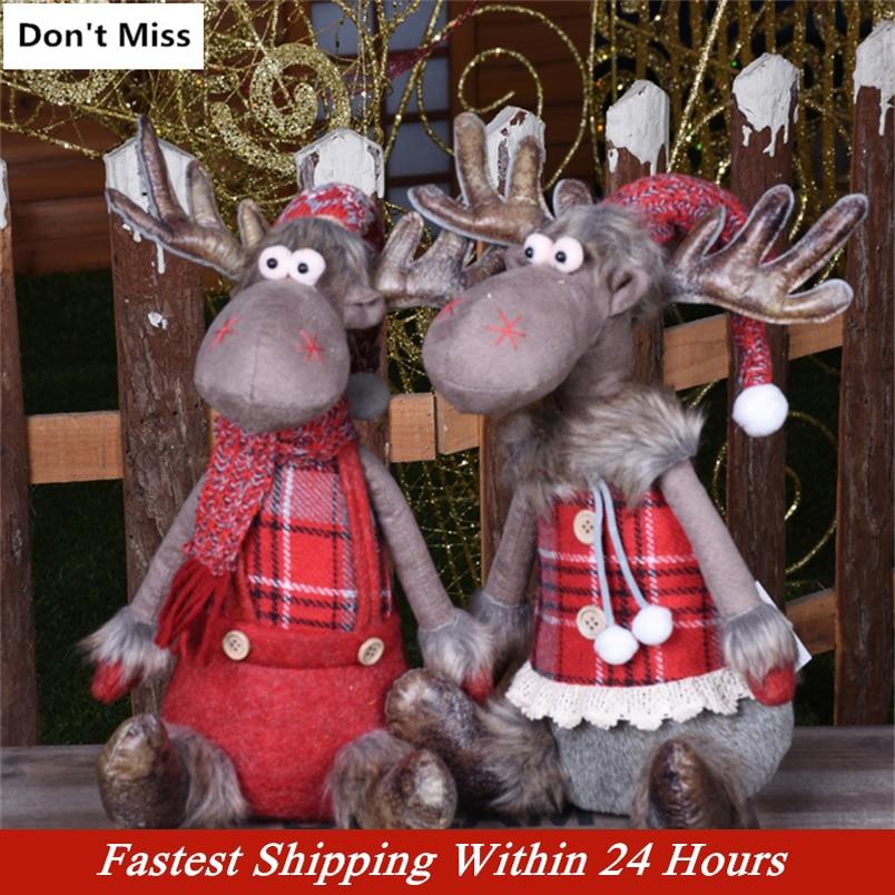 Natal estatuetas presente de natal para o miúdo natal renas bonecas ano novo decoração de natal navidad estatueta feliz natal