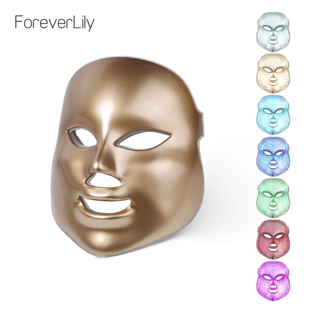 Foreverlily 7 Colors Light LED Facial Mask Skin Rejuvenation Face Care Treatment Beauty Anti Acne Therapy