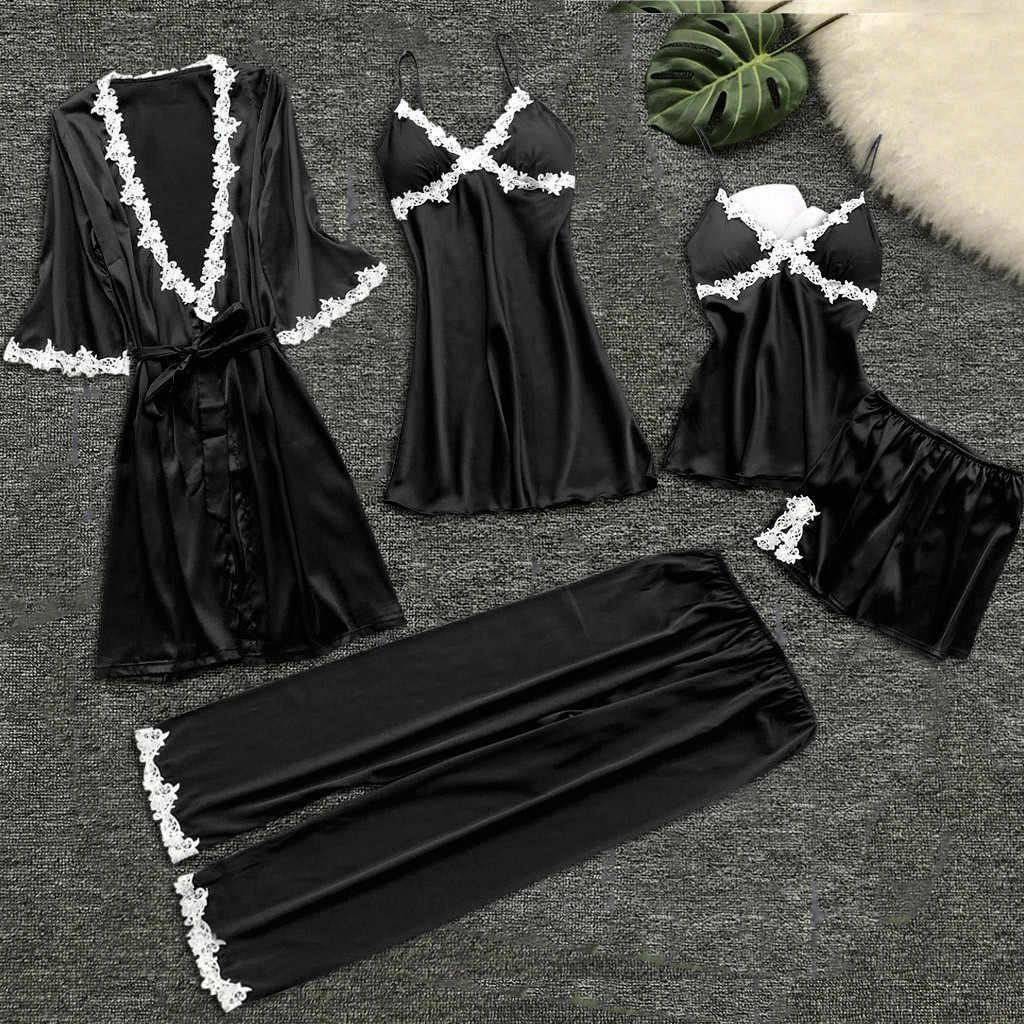 סקסי נשים Robe & שמלת סטי תחרה חלוק רחצה + לילה שמלת 5Pcs הלבשת שנת נשים טרקלין סט משי מלאכותי robe Femme הלבשה תחתונה * S