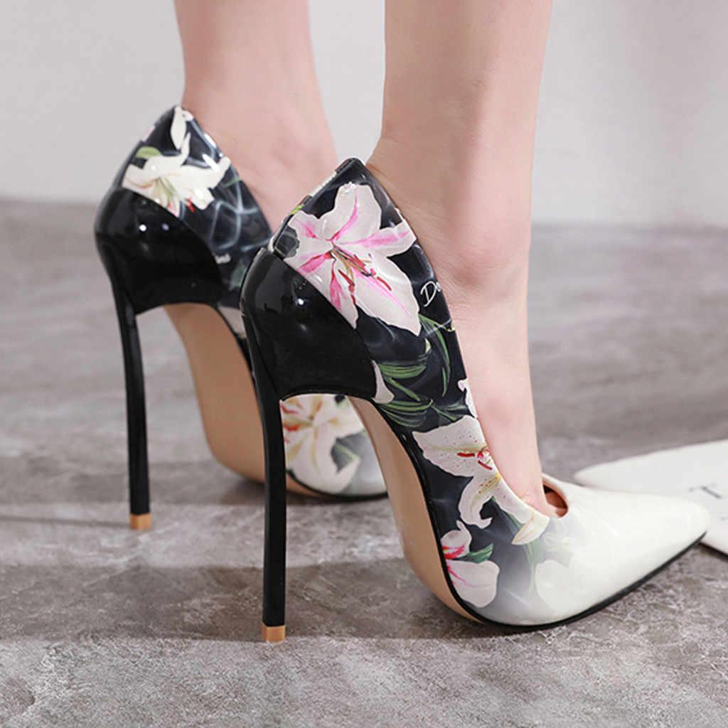 Scarpe Da donna Tacchi Alti Pompe Sexy di Estate Delle Donne Del Fiore Tacchi Alti Stileto scarpe A Punta Singola Scarpe Da Donna Sexy Scarpe Da Lavoro # g3