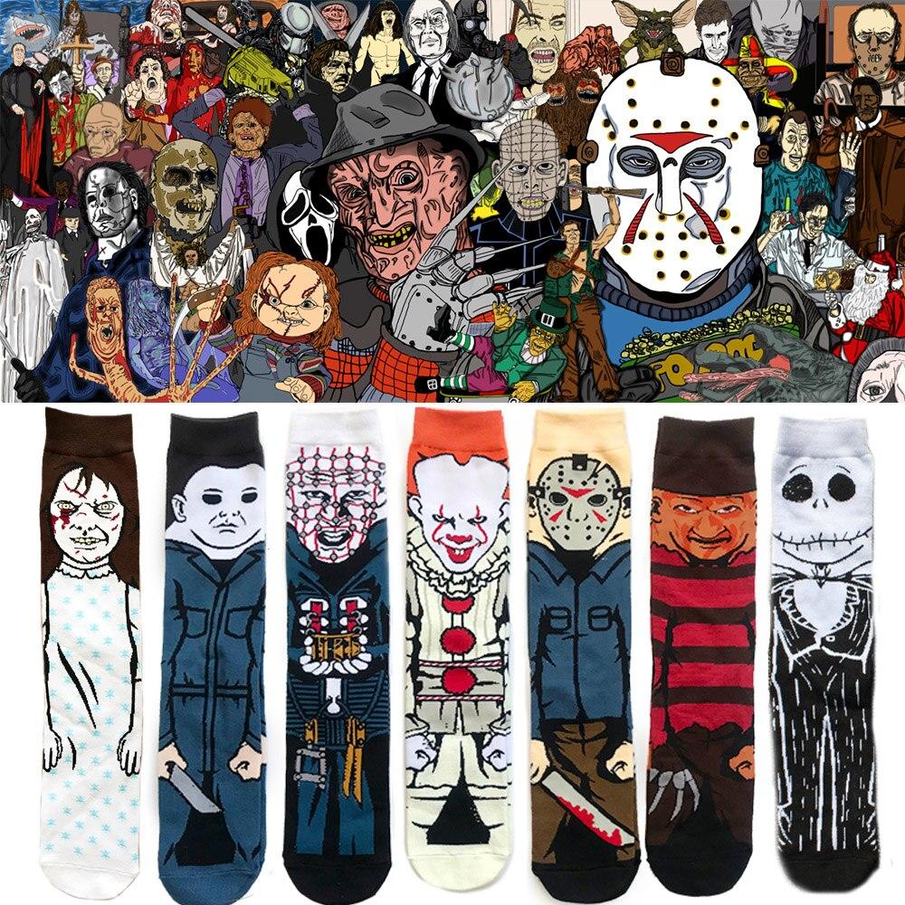 Fashion Hot New Cotton Unisex Socks Personality Funny Horror Film Novelty Character Crew Socks Socks Halloween Skateboard Socks