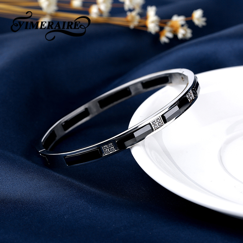 Hand Cut Section Ceramic Silver Stainless Steel Bangles For Women Elegant Black Silver Color Fashion Design Wedding Jewelry Gift