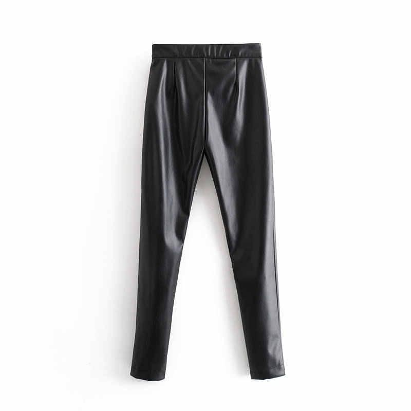 Winter dicke PU Leder Hosen frauen elastische hohe taille hosen Sexy zipper joggers dünne streetwear lange bleistift Hose