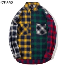 ICPANS Plaid Long Sleeve Shirts Men Women Couple Hip Hop Casual Shirt  Patchwork Pocket Button Fashion Streetwear