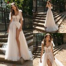 SERMENT Simple and Elegant Beach Garden Wedding Evening Dress Beaded Strapless Backless Perspective