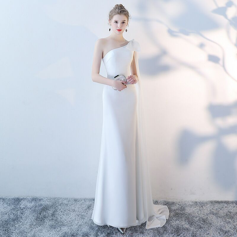 2020 FENTEFEN Plus Size Evening Host Dresses Sleeveless Simple Satin Mermaid Long Party Gown Soiree Sexy Formal Dress MS-0035