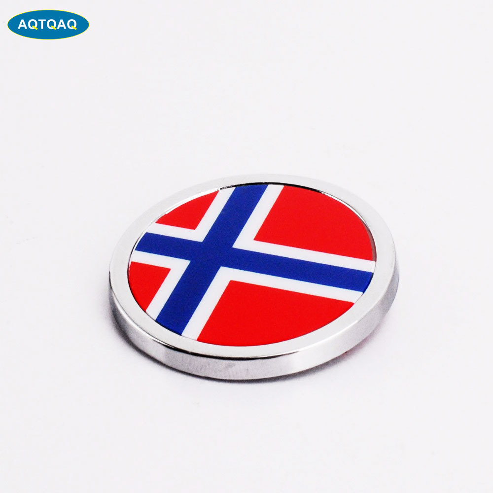 1 Pcs Car Exterior Accessories Norway Flag Sticker Metal MINI Round Emblem For  Toyota Rover Dodge Skoda