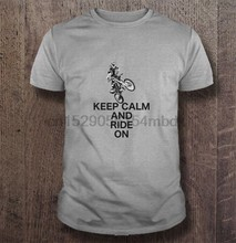 Men T Shirt Keep calm and ride on - Dirt biker Women t-shirt(China)