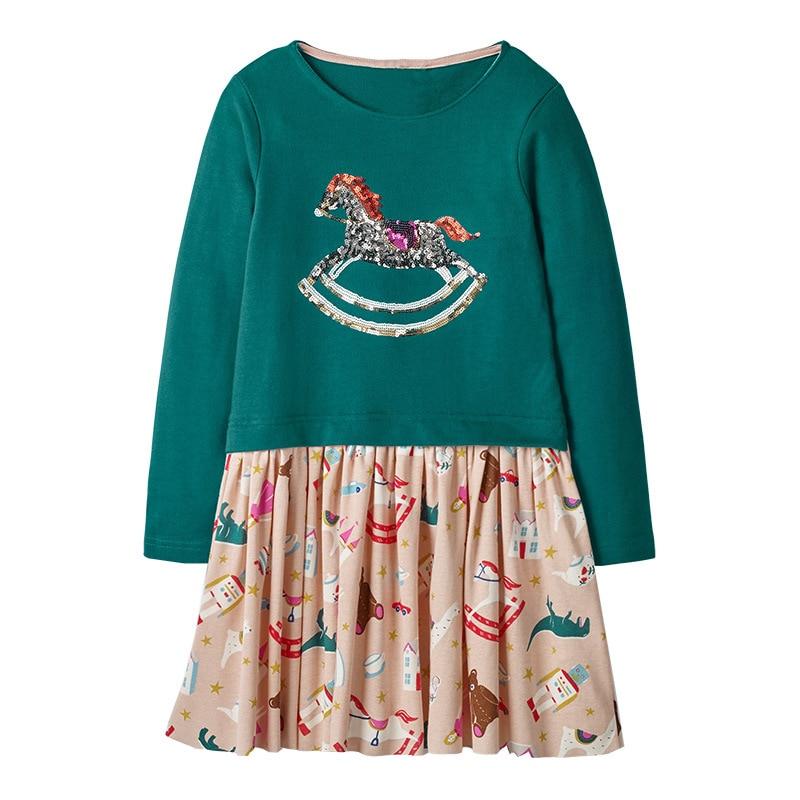 Little maven 2-7Years Baby Girls Unicorn Paillette Dress For Autumn Children's Kids Girl's Long Sleeve Dress Fall Clothing 1