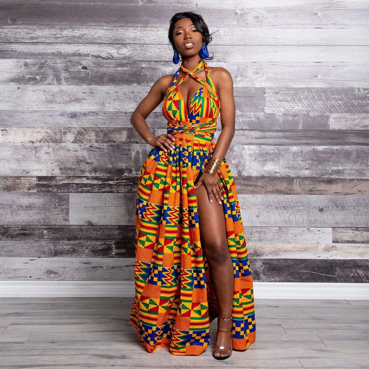 2020 African Dresses For Women Dashiki Cotton Wax Print Batik Sexy Long Dress For Femal Traditional Clothing Ankara Dresses