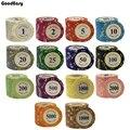 10 teile/satz 14g Casino Baccarat Crown LAS VEGAS Design Ton Poker Chips Inneren Metall mit Trim Aufkleber