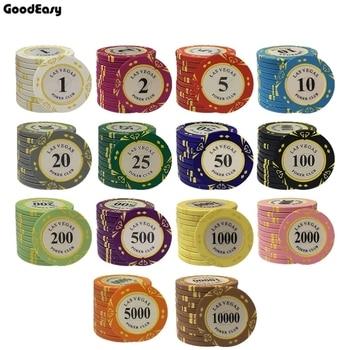 10PCS/SET 14g Casino Baccarat Crown LAS VEGAS Design Clay Poker Chips Inner Metal with Trim Sticker