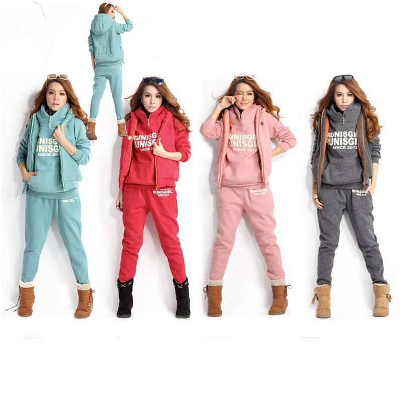 New Winter Women Casual Tracksuits Hooded Crop Top Letter Sweatshirt Loose Long Pants 3 Piece Sets Pink Sweat Suits Female Suit