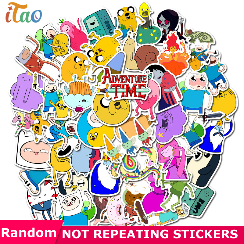10/20/30/40/50PCS Cartoon Adventure Time Stickers Waterproof PVC Guitar Laptop Motorcycle Skateboard Luggage Sticker Kids Toys