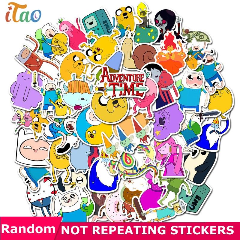 10/20/30/40/50PCS Cartoon Adventure Time Stickers Waterproof PVC Guitar Laptop Motorcycle Skateboard Luggage Sticker Kids Toys