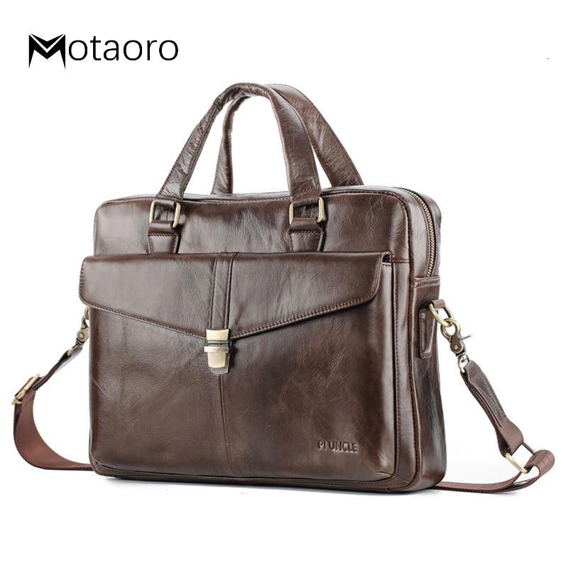 Genuine Leather Men Briefcase Big Capacity Business Laptop Man Bags Vintage Work Tote Handbag Shoulder Bag Bolso Hombre Sac Cuir