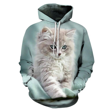 2020 Mens summer new animal print hoodie 3D cat outdoor leisure brand fashion sportswear street coat