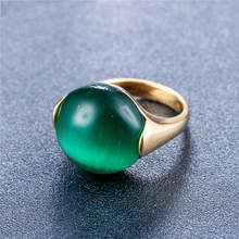 Luxury Opals Fashion Jewelry Rings Vintage 316L Titanium Steel Ring Simple Casting For Women