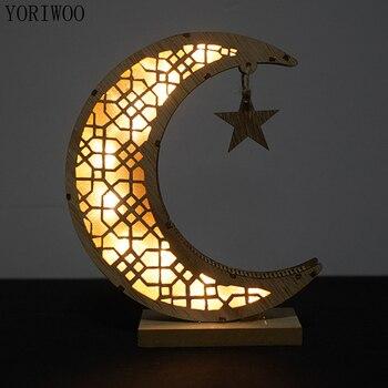 Ёрайу ИД Мубарак Карим деревянное ремесло Луна Рамадан украшение для дома деревянный светодиодный светильник Исламский подарок мусульман...