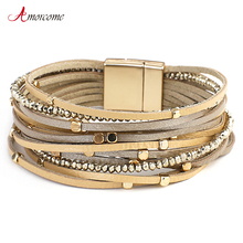Amorcome Genuine Leather Bracelets for Women Bohemian Multilayer Metal Beads Charm Wide Wrap Bracelets amp Bangles Femme Jewelry cheap Charm Bracelets Zinc Alloy Fashion TRENDY Rope Chain All Compatible ROUND Mood Tracker E540293P Glue MAGNET Women Wrap Bracelet