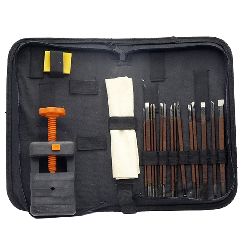 Stone Carving Tool Kits 18Pcs Manganese Steel Hand Engraving Knife Carving Chisels Vise Clamp Kits