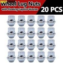 20 porcas da roda da liga dos pces para ford focus mk1 mk2 mk3 st rs m12 x 1.5 19mm parafuso prisioneiro talão do pneu porca whorl com arruela cativa flutuante
