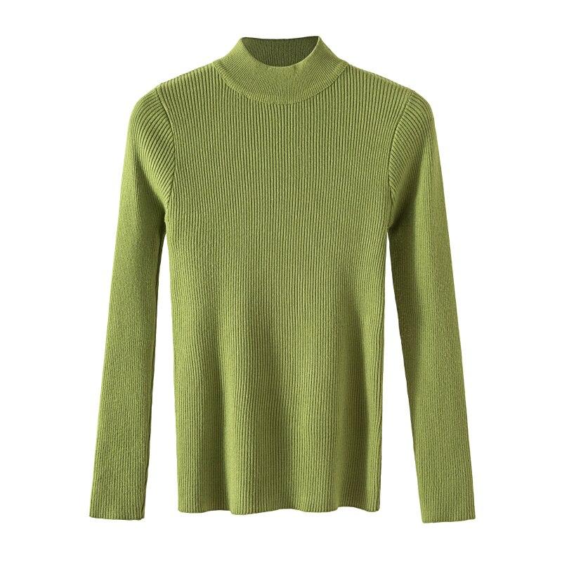 Gkfnmt Sweater Knitted Pullovers Casual Jumper Turtleneck Warm Elasticity Korean Winter Women
