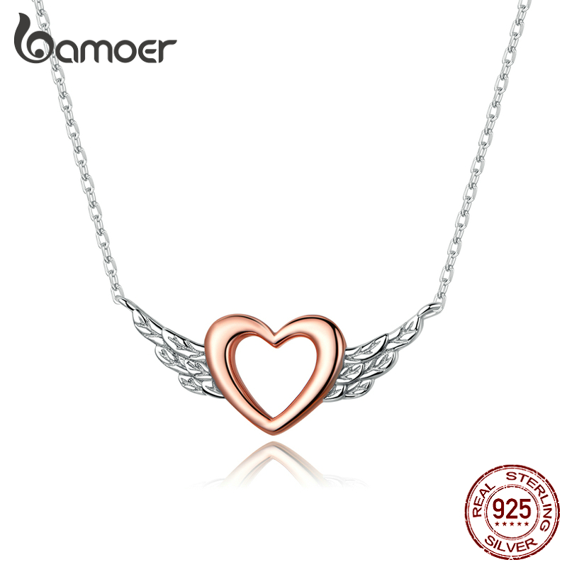 Bamoer Silver 925 Heart With Wings Minimalist Simple Chain Necklace For Women Rose Gold Color Jewelry Bijoux 2020 Collar BSN162