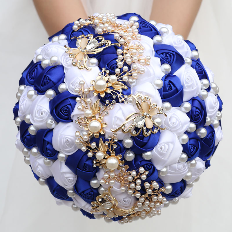 Wedding Flowers Bridal Bouquets Butterfly Jewelry Pearls Bouquet Customizable Ribbon Rose Bridesmaid Wedding Bouquet Party W322G 1