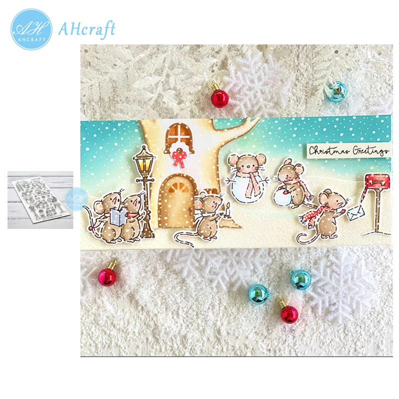 AHcraft <font><b>Merry</b></font> Mice <font><b>Christmas</b></font> Stamp and Metal <font><b>Cutting</b></font> <font><b>Dies</b></font> for Photo Album Decorative Embossing Silicone Clear Stamps 2019 winter image