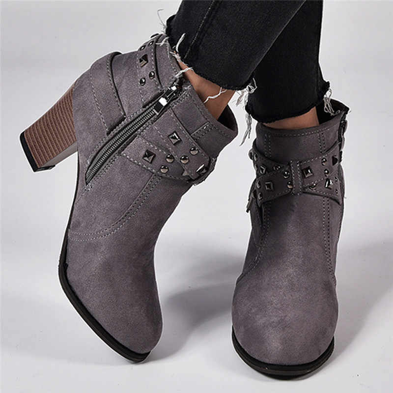 Sonbahar kış kadın çizmeler fermuar perçin çizmeler süet kadın kışlık botlar pamuklu yarım çizmeler kadın ayakkabısı yuvarlak ayak ayakkabı