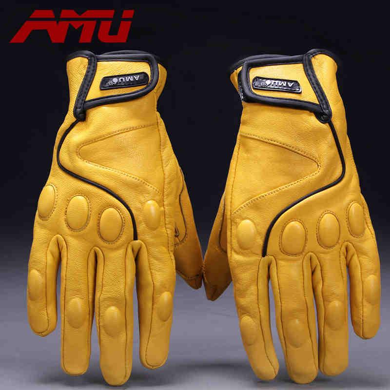 Перчатки для мотоцикла Guantes AMU, бейсбольные перчатки из натуральной кожи, мотоциклетные перчатки для электрического велосипеда