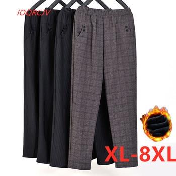 Talla Extra grande Otoño Invierno mujer mediana edad terciopelo cálido cintura elástica Pantalones rectos informales pantalones femeninos de talla grande XL-8XL