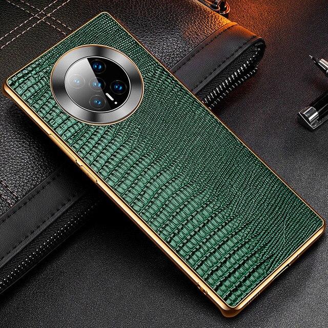 غلاف خلفي من جلد البقر الطبيعي الحقيقي لهاتف Huawei Mate 40 Pro ، تمساح ، نمط سحلية ، أعمال