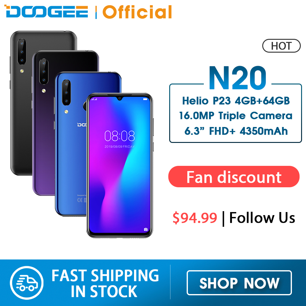DOOGEE N20 Mobilephone Fingerprint 6.3inch FHD+ Display 16MP Triple Back Camera 64GB 4GB MT6763 Octa Core 4350mAh Cellphone LTE(China)