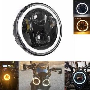 Image 1 - Универсальный светодиодный головной фонарь для автомобиля и мотоцикла, 5, 3/4 дюйма, 5,75 дюйма, H4, фара головного света для мотоцикла, фара головного света для Harley indian scout Honda