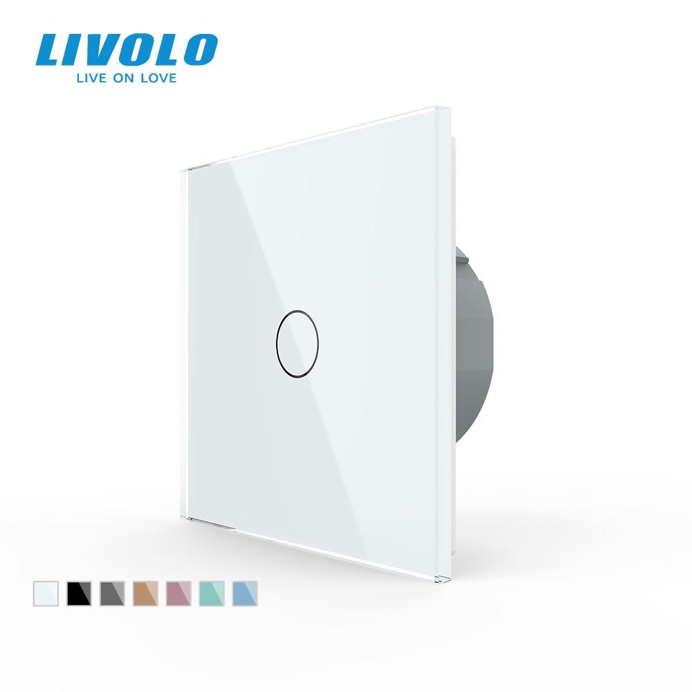 Livolo luxury Wall Touch Sensor Switch,EU Standard Light Switch,Crystal Glass switch power,1Gang 1Way Switch,220-250,C701-1/2/5 1