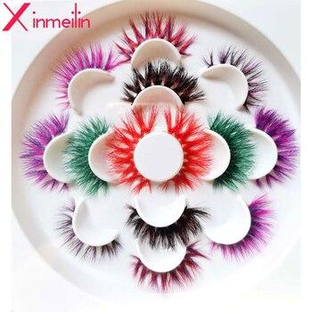 50 par kolor 3D rzęsy z norek hurtowych naturalne długie indywidualne grube puszyste makijaż kolorowe rzęsy wydłużająca rzęsy dostaw