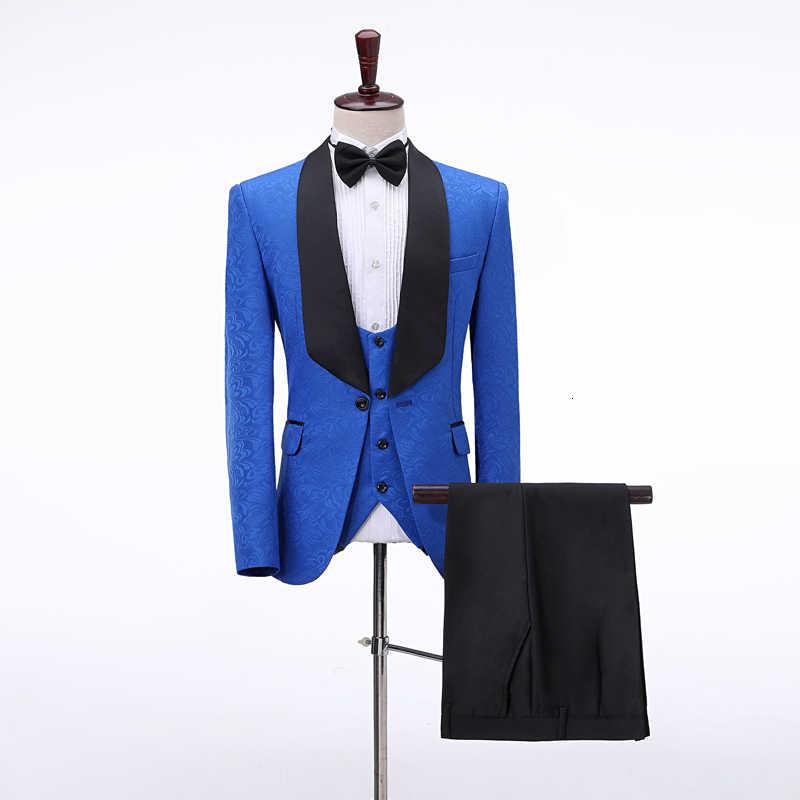 PYJTRL hommes 4 pièces ensemble Jacquard costumes châle revers mariage marié robe de bal smoking Costume Homme hommes Costume veste pantalon gilet cravate