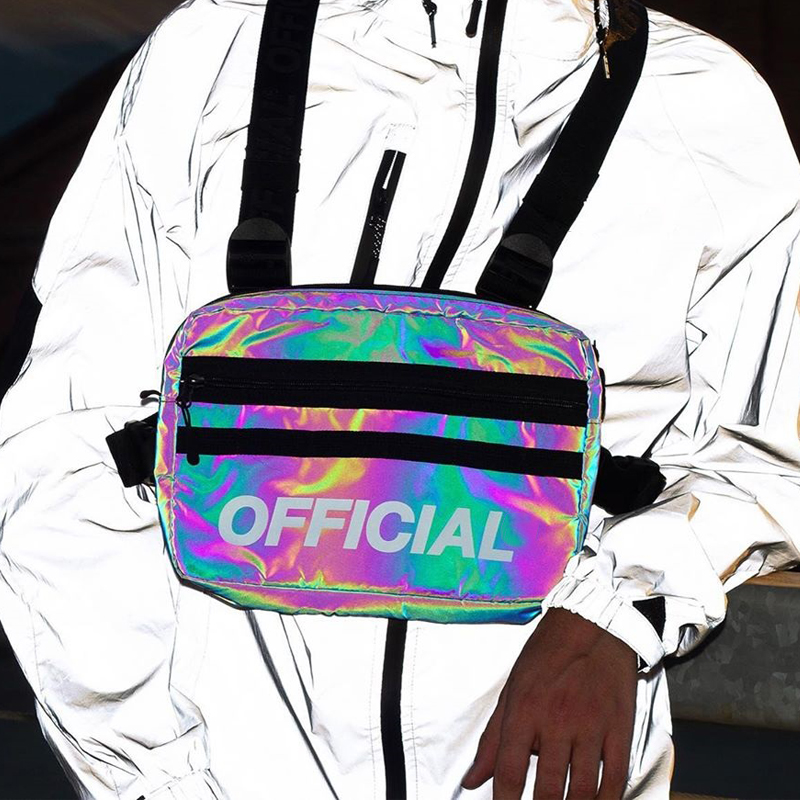 Trendy Reflective Chest Bag Man HipHop Tactical Streetwear Women Disco Party Luminous Reflective Chest Rig Bags G172