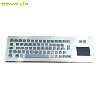 Silver rugged vandal proof backlight metal keyboard with touchpad
